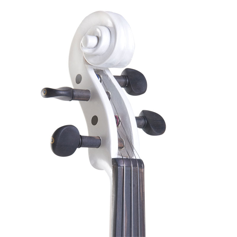 Electric Silent Violin w/ Solidwood Ebony Fitted in Pearl White - Aria Muzic