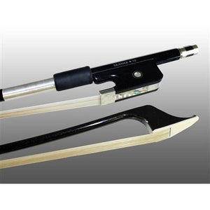 Bass Bow French Carbon Graphite, Fully-Lined Ebony Frog, Nickel Wire Grip - Aria Muzic