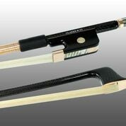 Bass Bow French Braided Carbon Fiber Round, Fully Lined Ebony Frog, 585 Gold Grip & Tip - Aria Muzic