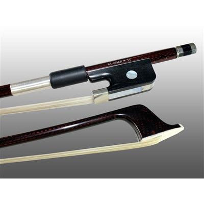Bass Bow French Braided Carbon Fiber Round, Fully-Lined Ebony Frog, Nickel Wire Grip, Plastic Tip - Aria Muzic