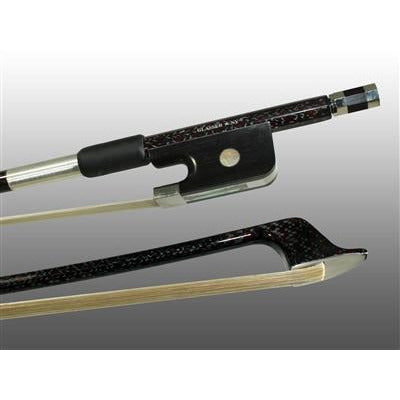 Bass Bow French Braided Carbon/Red Hybrid Fiber, Round Fully Lined Ebony Frog, Nickel Wire Grip & Tip - Aria Muzic