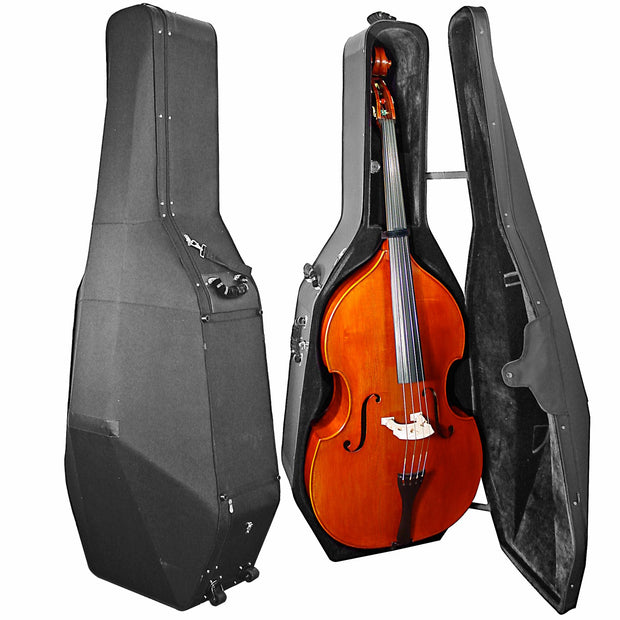 OX4200B Oxford Double Bass Case. Solid, wood shell bass case with wheels, and lots of handles.