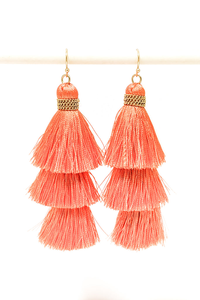 Fish Hook Thread Tassel Earrings