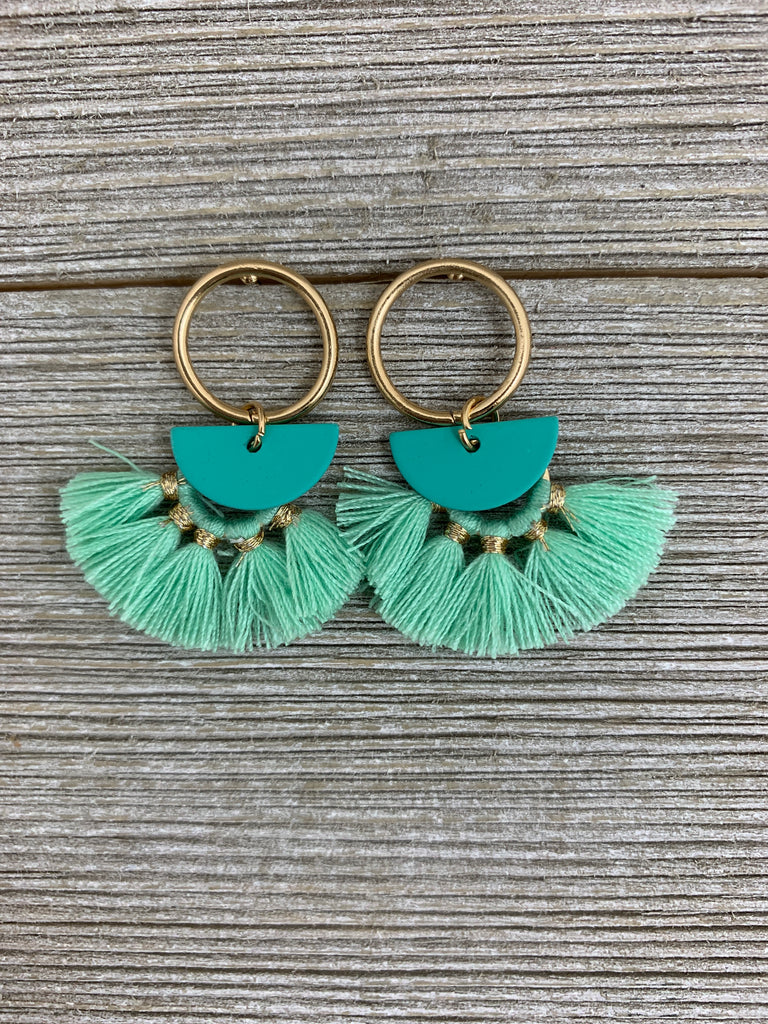 Ring and Half Moon Color Metal Tassel Earrings