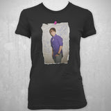Justin Bieber Hanging Photo - Youth Black T-Shirt