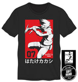 Naruto - Kakashi Hatake, Team 07 Red on Black T-Shirt