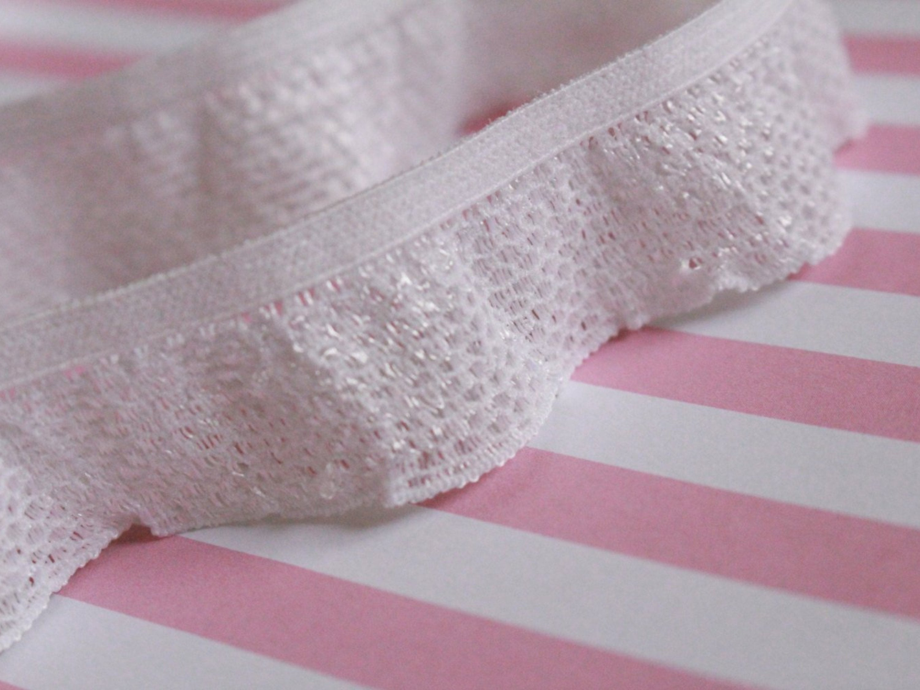 Pink Ruffle Edge Elastic Trim  1 inches  1 yard