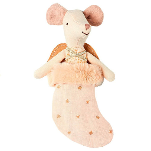Maileg Pink Angel Mouse in a Stocking
