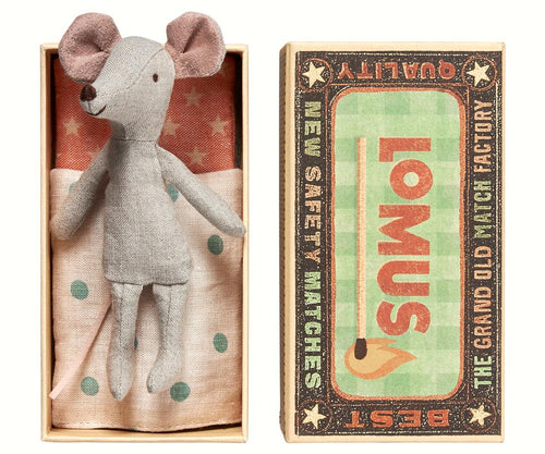 Maileg Cousin Mouse in a Match Box
