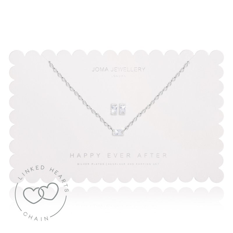 Joma Jewellery Happy Ever After - White Crystal Earrings and Necklace Set