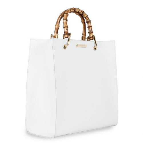 KATIE LOXTON Amelie Bamboo Bag White