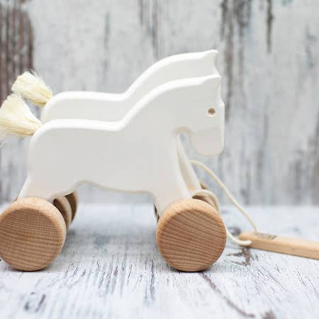 Bajo Wooden Jumping Horses Pull Toy - White