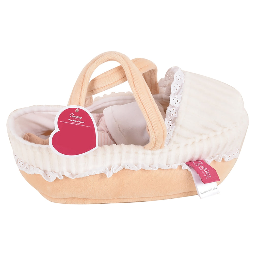 Carry Cot With Baby Grace , Bottle & Blanket