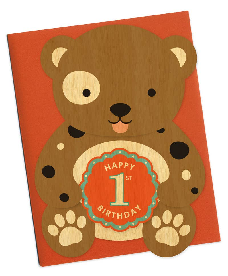 Night Owl Paper Goods - First Bday Doggie Wood Birthday Card
