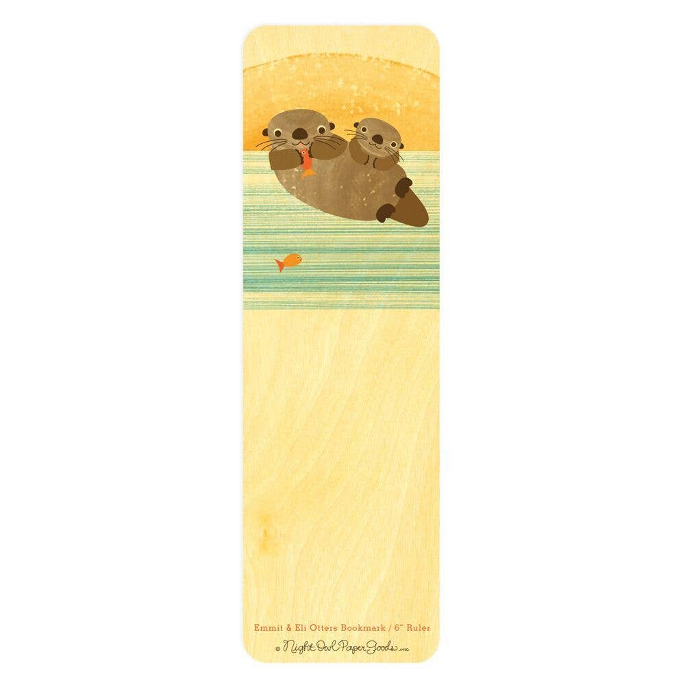 Night Owl Paper Goods - Emmit & Eli Otters Wood Bookmark / Ruler