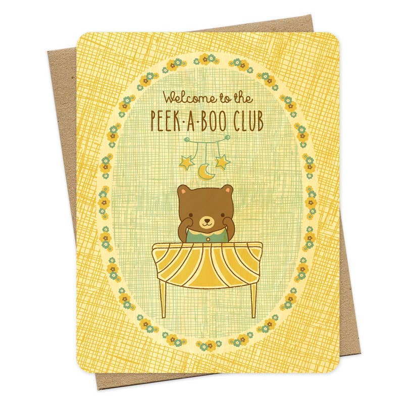 Night Owl Paper Goods - Peek-A-Boo Wood Congratulations Card