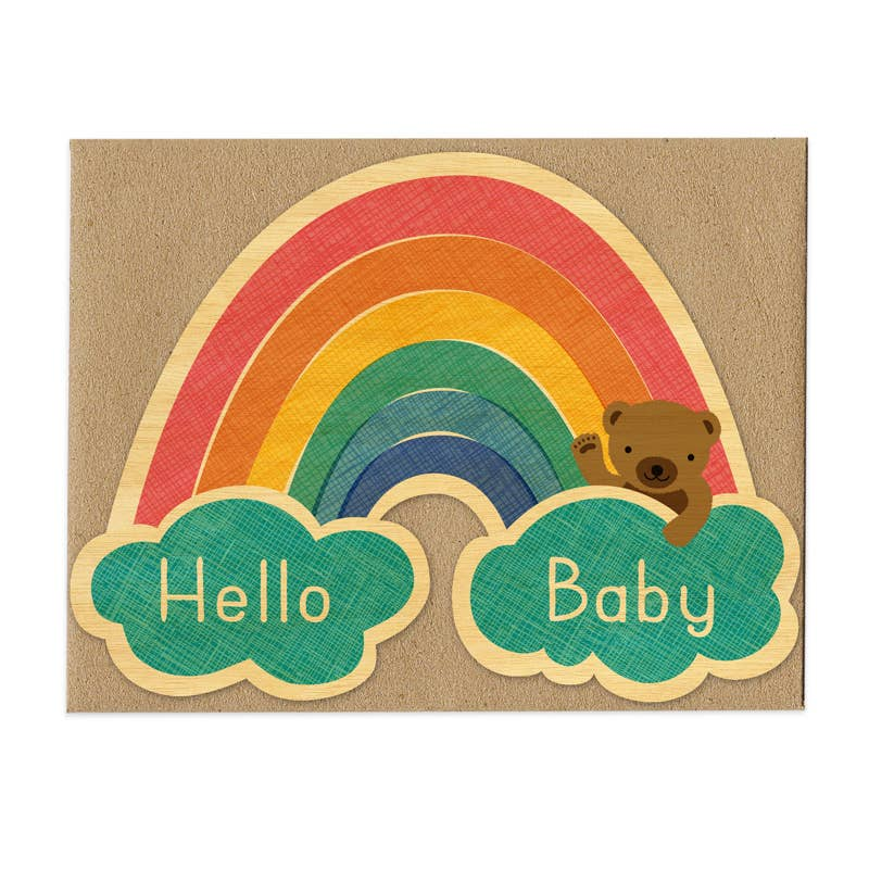 Night Owl Paper Goods - Baby Rainbow Wood Congratulations Card