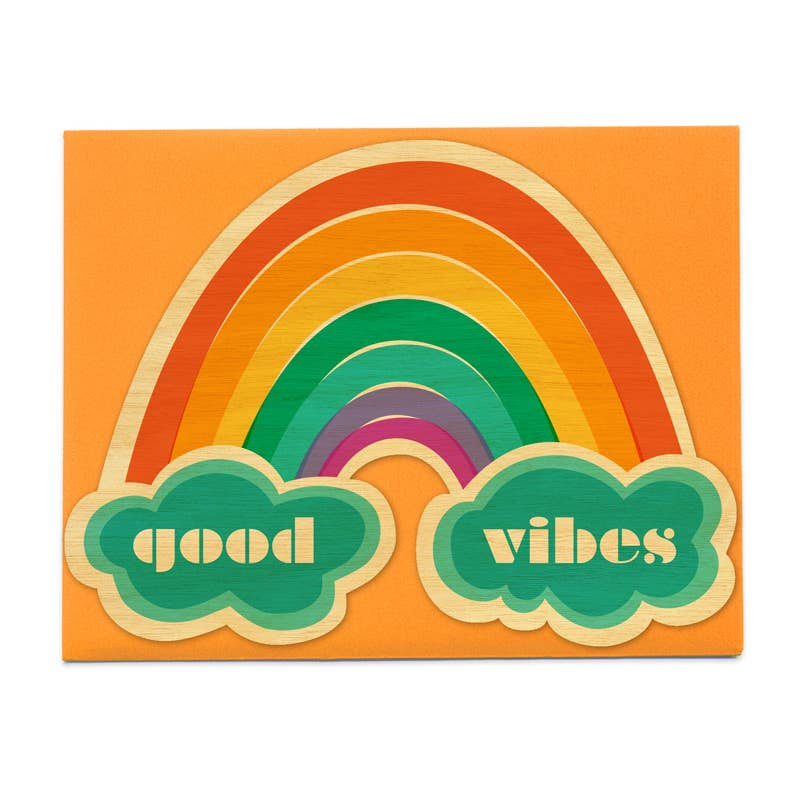 Night Owl Paper Goods - Good Vibes Wood Encouragement Card