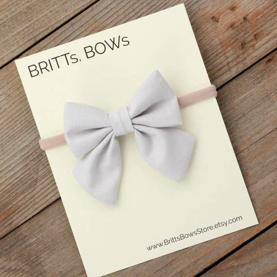 BRITTs. BOWs - Light Gray Headband