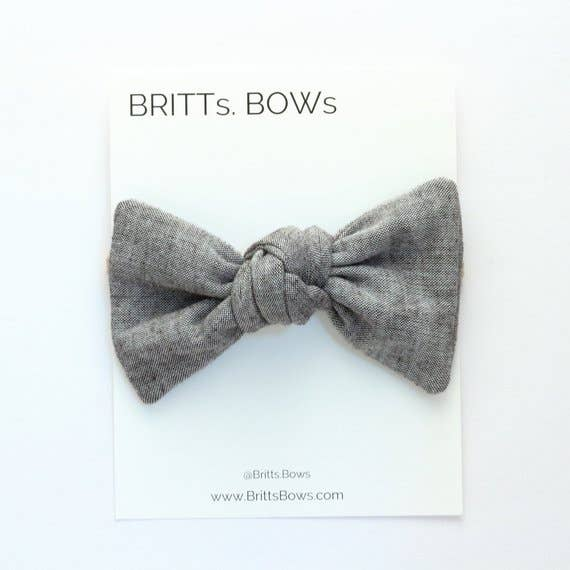 BRITTs. BOWs - Light Gray Chambray Knot Headband