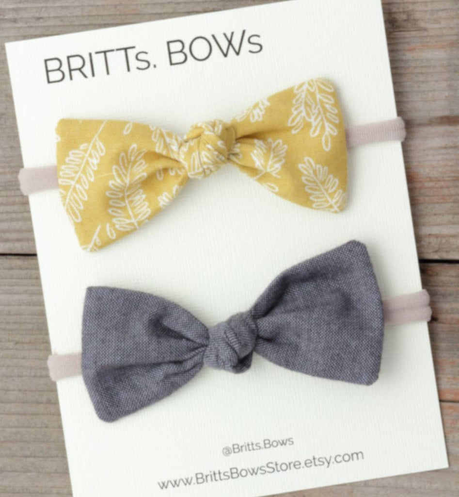 BRITTs. BOWs - Mustard Floral and Chambray Knot Headband Set of 2
