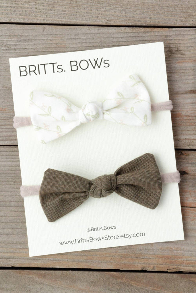 BRITTs. BOWs - White Floral and Green Knot Headband Set of 2