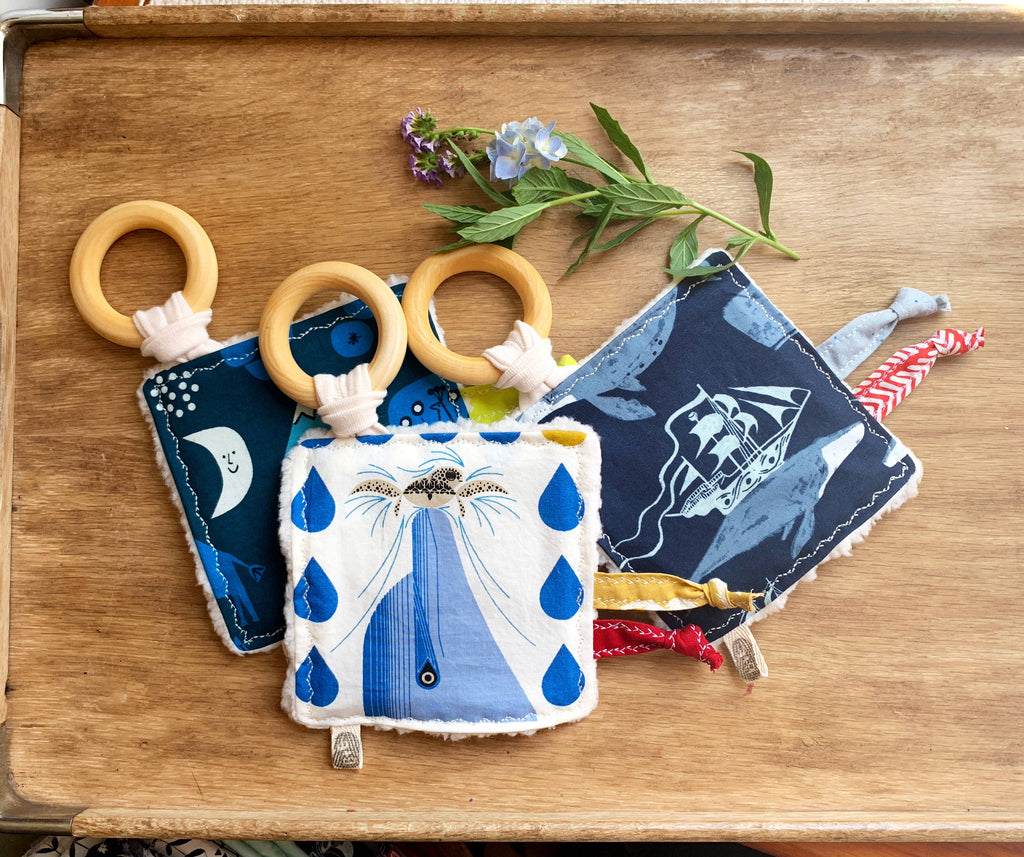 The Bird & Elephant - Baby Blue Crinkle Sensory Teether Toys, Maritime Nautical