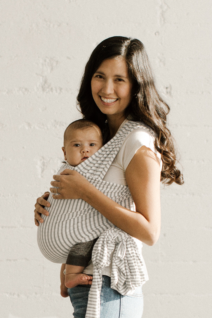 Solly Baby Wrap Carrier - Natural & Grey Stripe