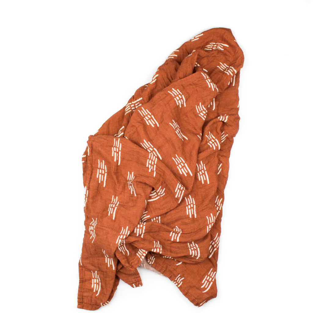 Bamboo Muslin Swaddle - Rust Lines