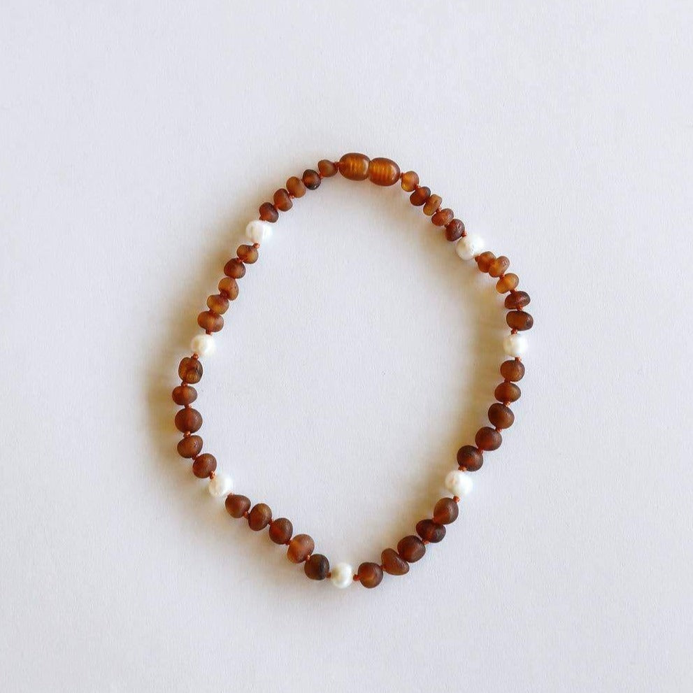 CanyonLeaf - Raw Cognac Amber + Pearls Halo Necklace