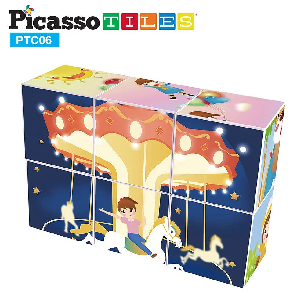 PicassoTiles - 6 Piece Magnetic Magic Puzzle Cube Set