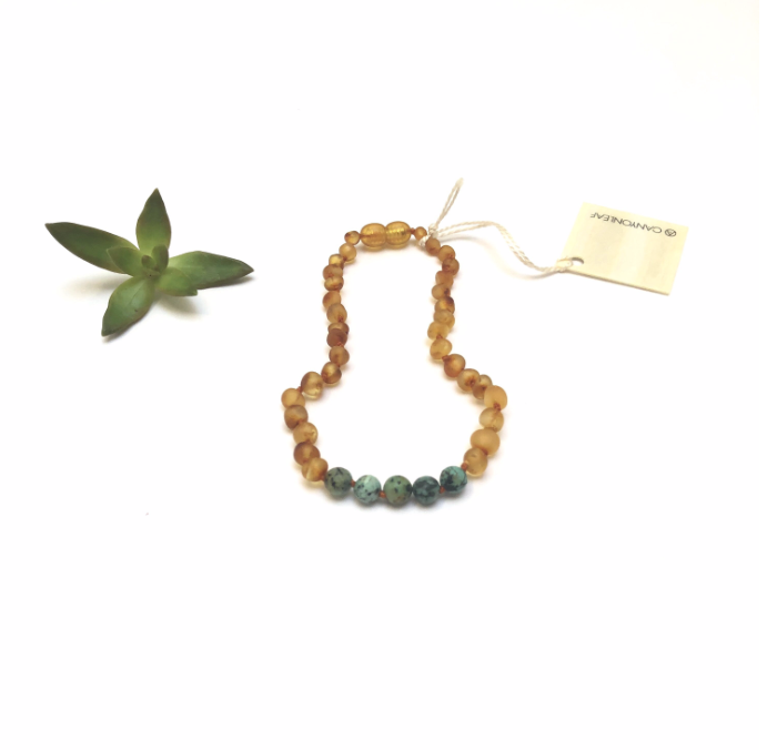CanyonLeaf - Raw Honey Amber + Turquoise Jasper