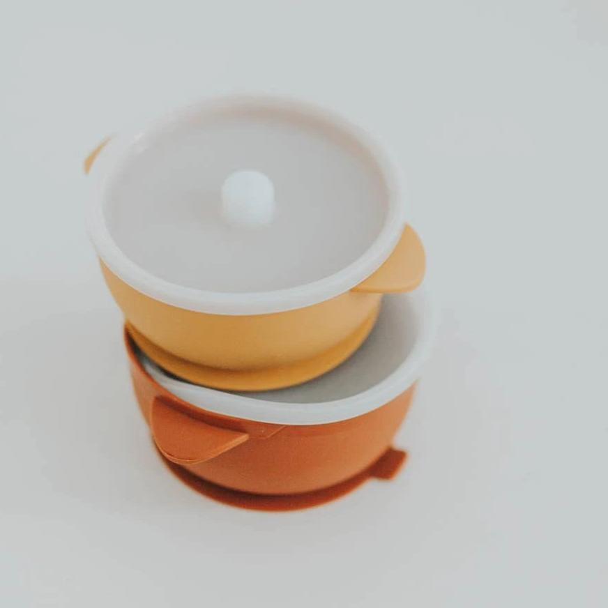 Silicone Baby Bowls - Suction Bowl with Lid - Ginger