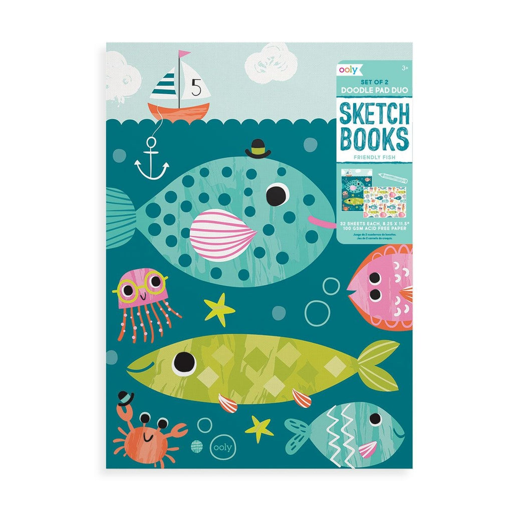 Ooly Doodle Pad Duo Sketchbooks: Friendly Fish - Set of 2