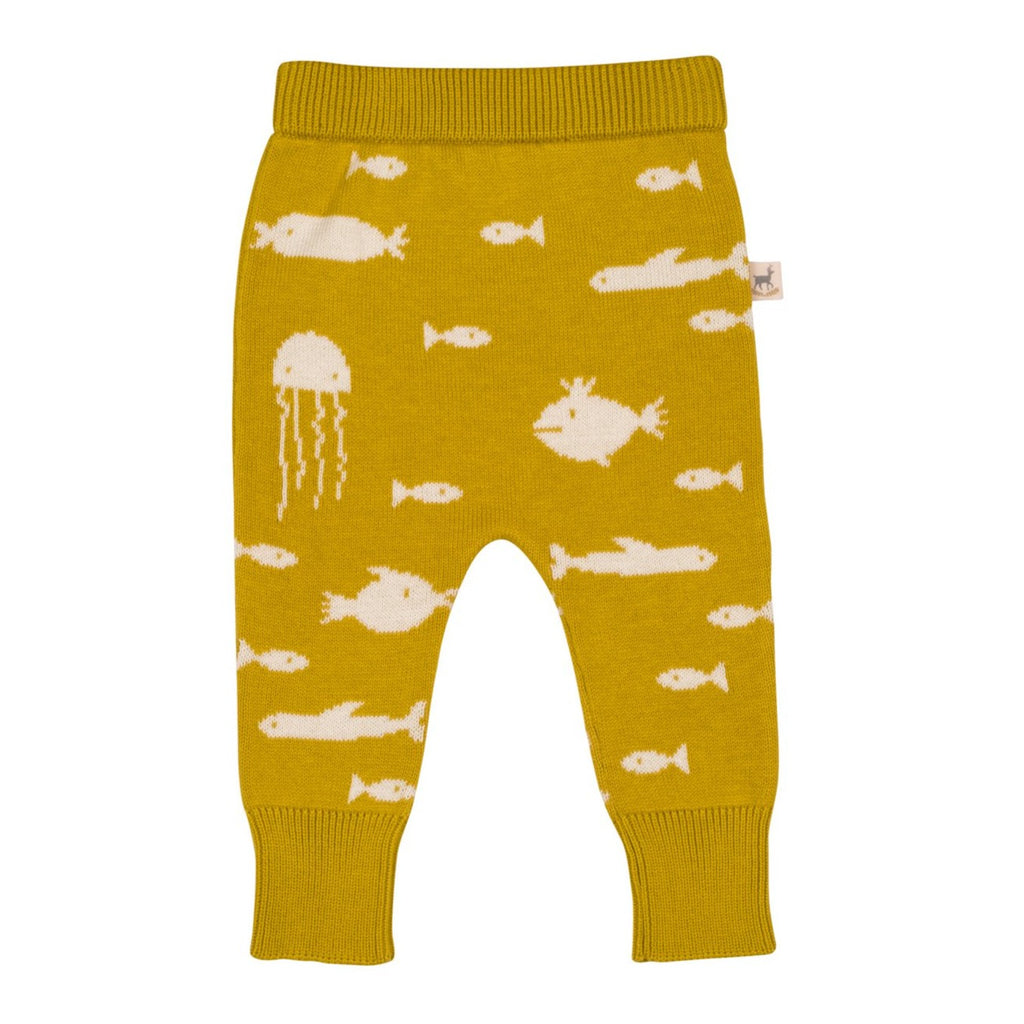 Red Caribou Knit Pants - Mustard