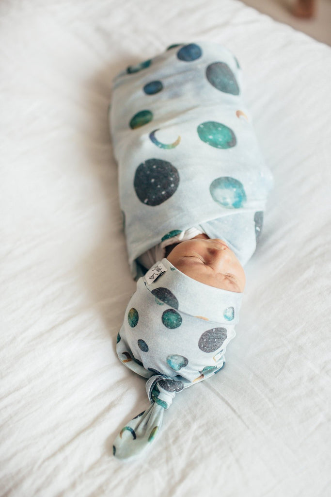 Copper Pearl Knit Swaddle Blanket - Lunar