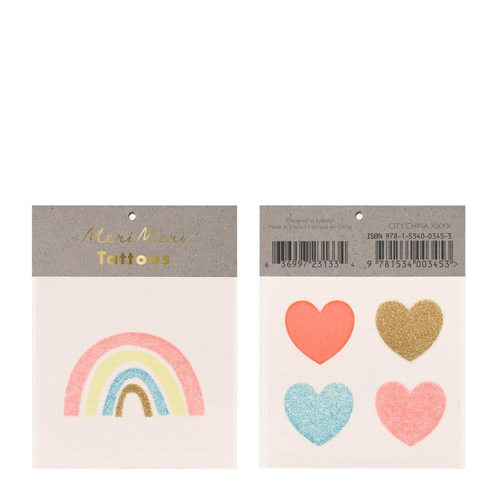 Rainbow + Hearts Small Tattoos