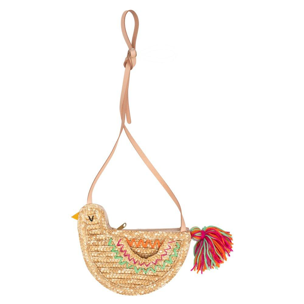 Bird Cross Body Straw Bag