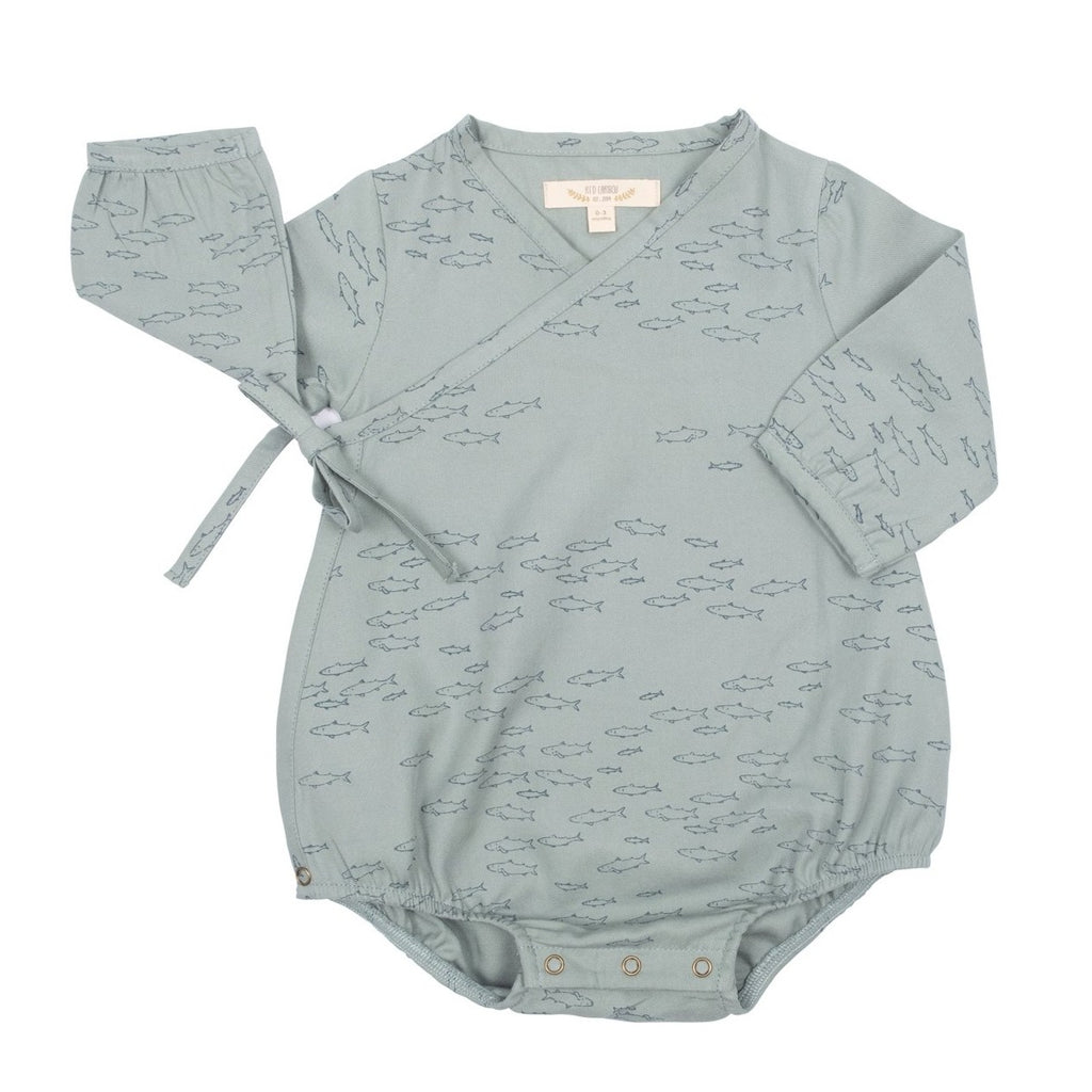 Red Caribou Woven Onesie - Schooling Fish