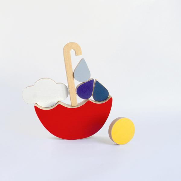 The Wandering Workshop Wooden Stacking and Balance Toy - Red Umbrella