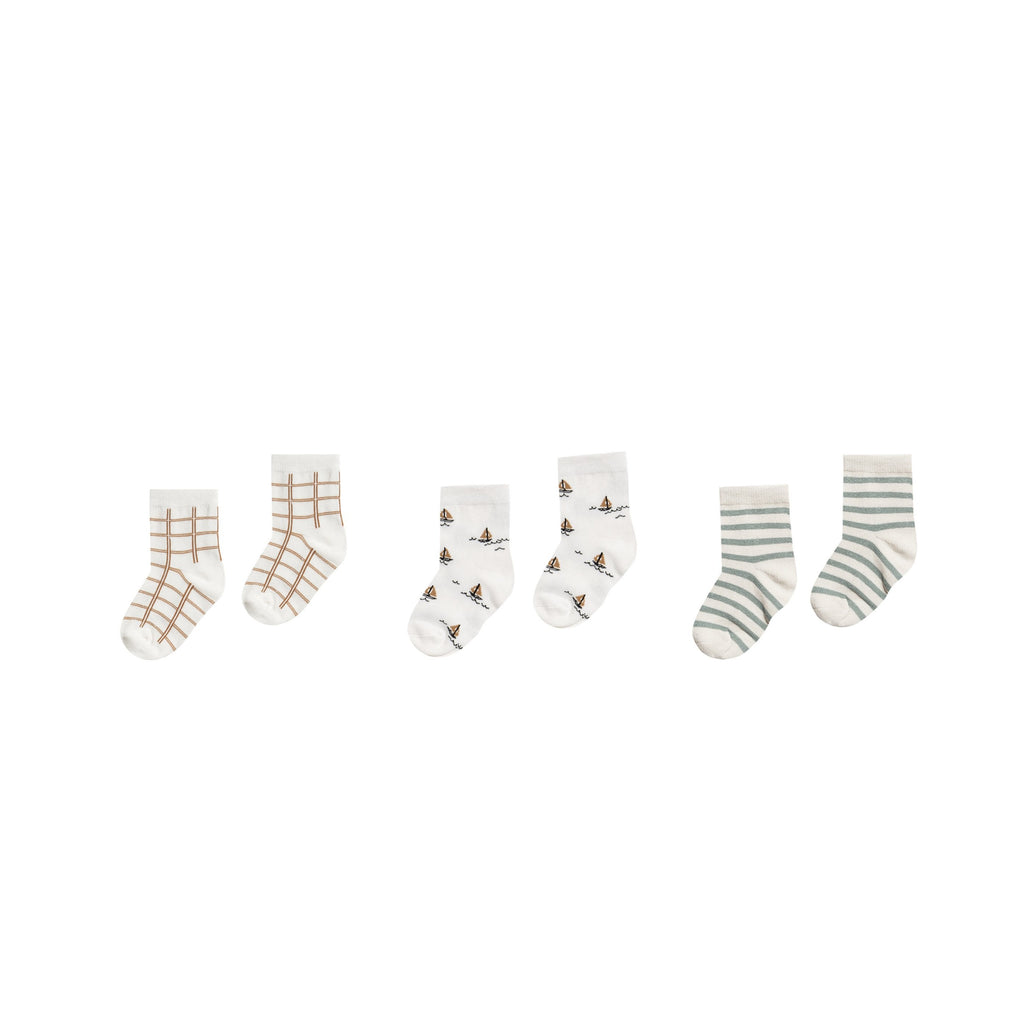 Rylee + Cru Printed Ankle Sock Set - Bronze Grid/Sailboat/Sea Stripe