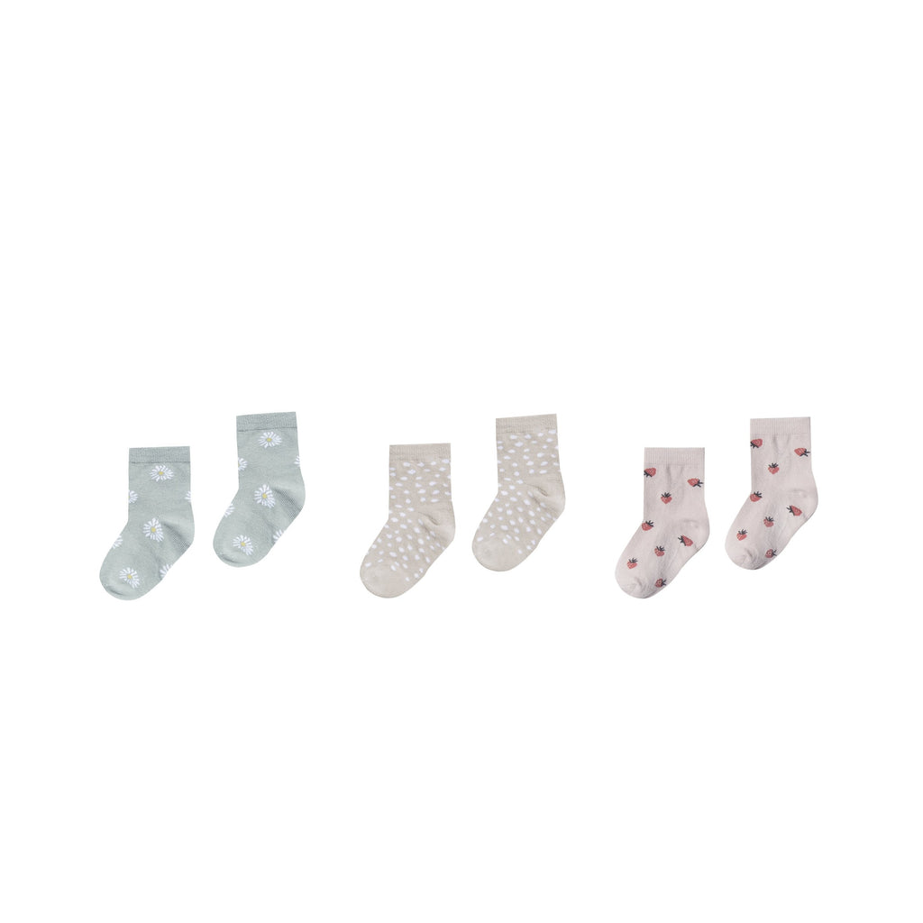 Rylee + Cru Printed Ankle Sock Set - Daisy/Micro Dot/Strawberry