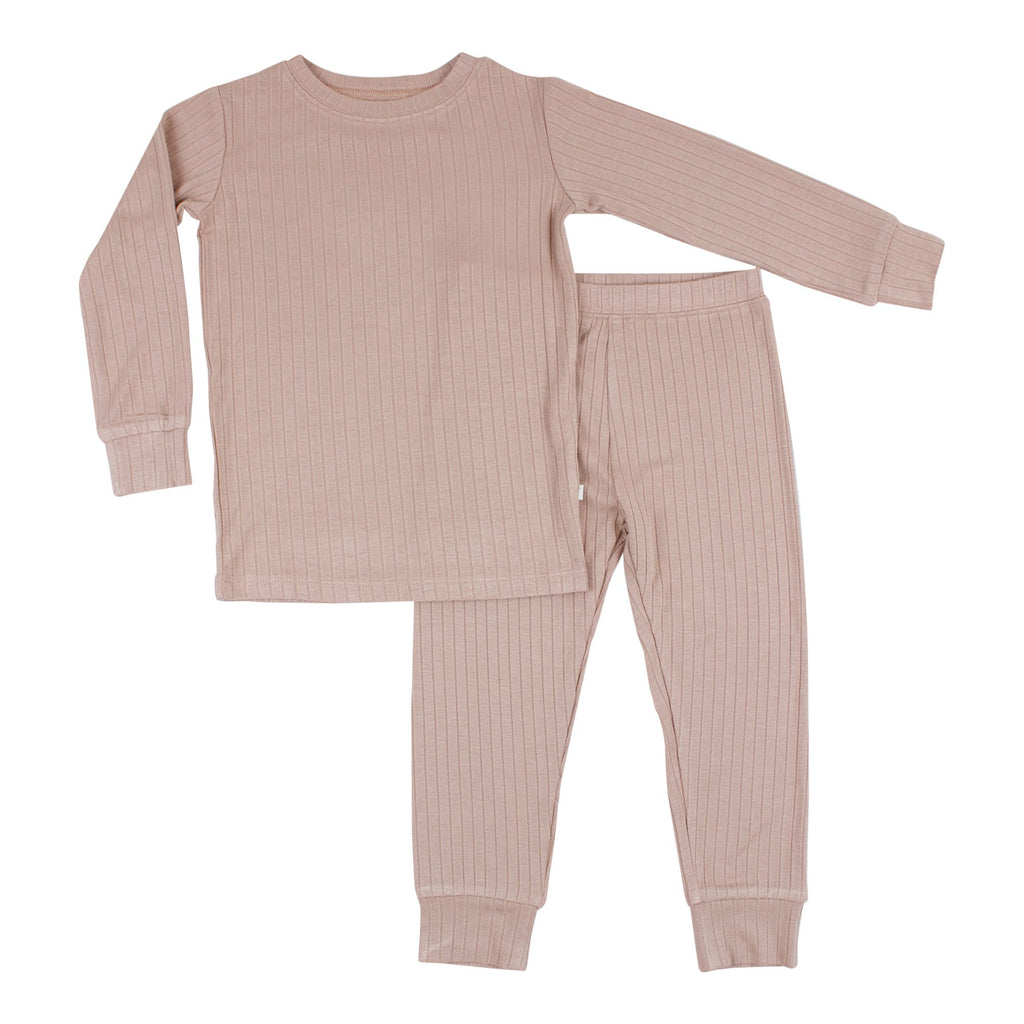 Two Piece Bamboo Pajama Set - Ribbed Rosewood