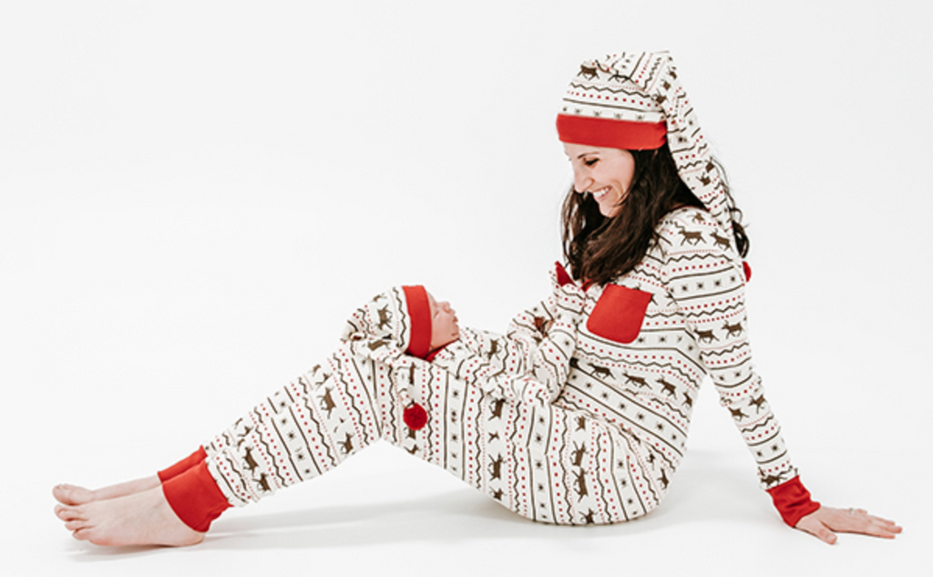 L'ovedbaby Holiday Women's PJ's & Cap Set - Fair Isle Reindeer