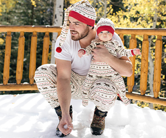L'ovedbaby Holiday Men's/Women's PJ Bottom & Cap Set - Fair Isle Reindeer
