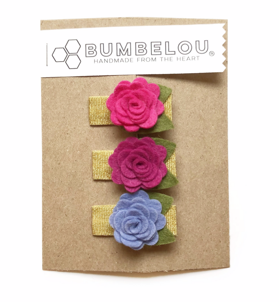 Bumbelou - Mini Roses Alligator Clip - Coral/ Peach/ Cotton Candy