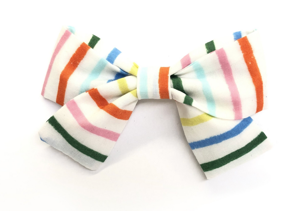 Bumbelou Jane Bow Clip - Happy Stripes