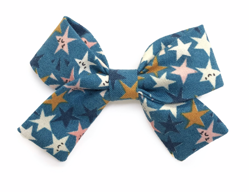 Bumbelou Jane Bow Clip - Blue Stars