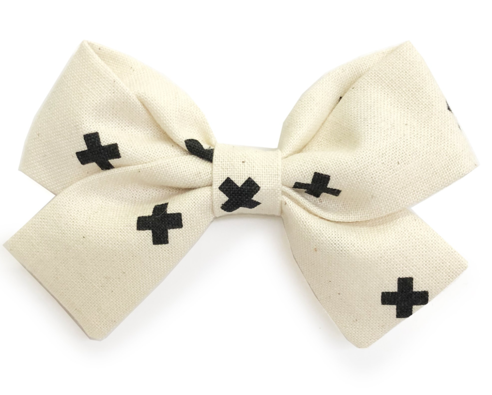 Bumbelou Jane Bow Headband - Grid X Ivory