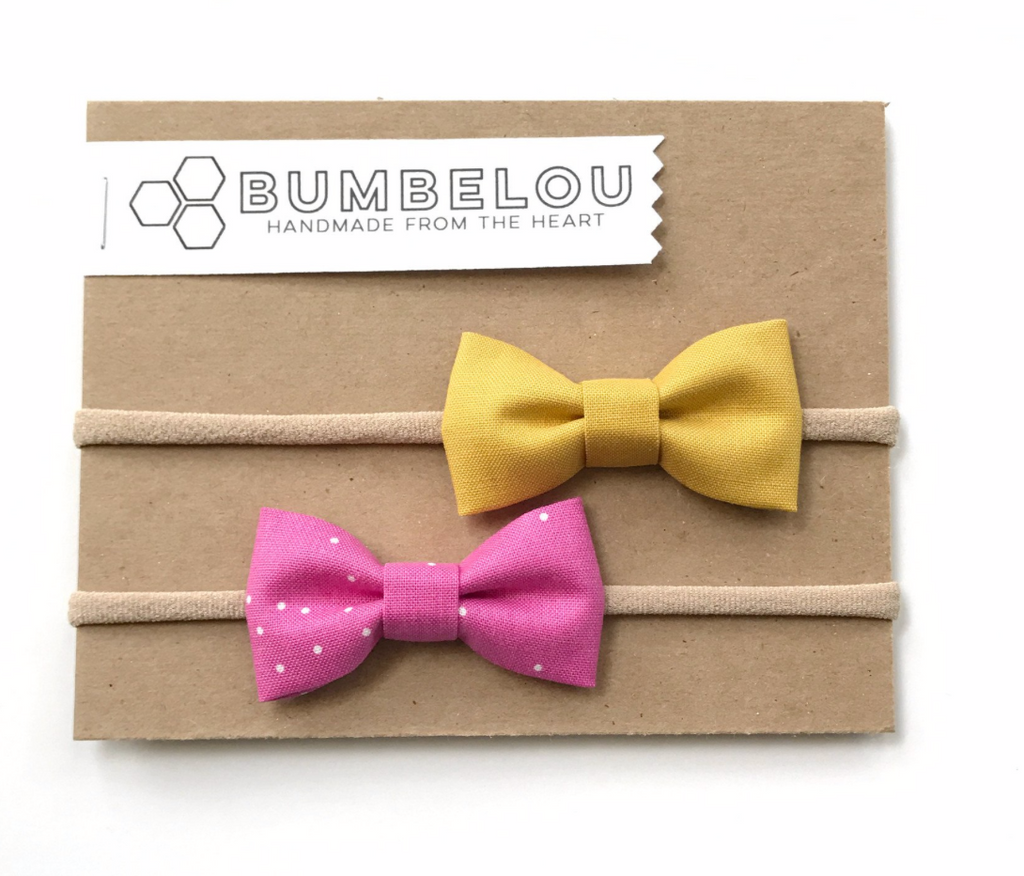 Bumbelou Classic Fabric Bow Clip Set - Mustard/ Magenta Sprinkles